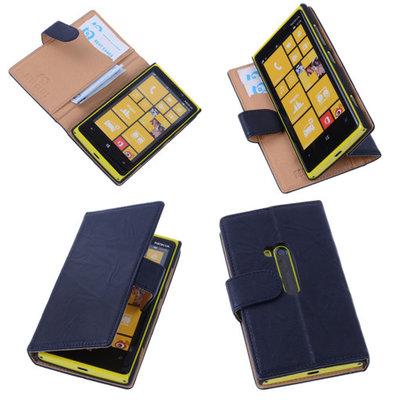 BestCases Stand Navy Blue Echt Lederen Book Wallet Hoesje voor Nokia Lumia 920
