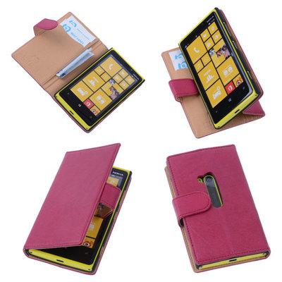 BestCases Stand Fuchsia Echt Lederen Book Wallet Hoesje voor Nokia Lumia 920