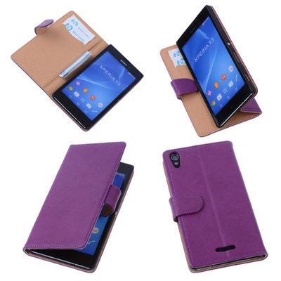 BestCases Lila Hoesje voor Sony Xperia T3 Stand Echt Lederen Booktype
