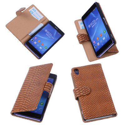 "Bestcases ""Slang"" Bruin Hoesje voor Sony Xperia Z2 Bookcase Cover"