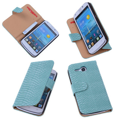 Bestcases Slang Turquoise Hoesje voor Huawei Ascend Y600 Bookcase Cover