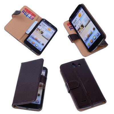 PU Leder Mocca Hoesje voor Huawei Ascend G730 Book/Wallet Case/Cover