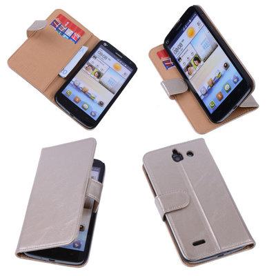 PU Leder Goud Hoesje voor Huawei Ascend G730 Book/Wallet Case/Cover