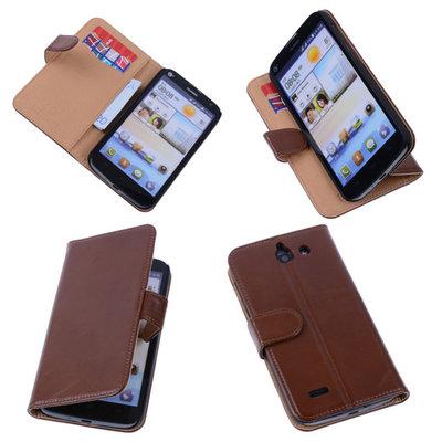 PU Leder Bruin Hoesje voor Huawei Ascend G730 Book/Wallet Case/Cover