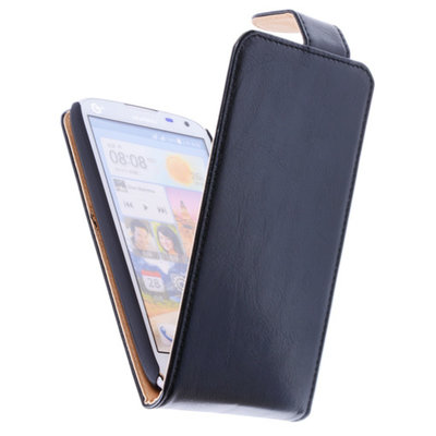 Classic Zwart Hoesje voor HTC Desire 616 PU Leder Flip Case