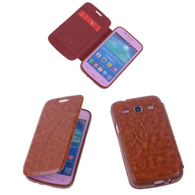 Bruin TPU Book Case Flip Cover Motief Hoesje voor Samsung Galaxy Core Plus