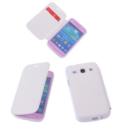 Bestcases Wit TPU Book Case Flip Cover Motief Hoesje voor Samsung Galaxy Core Plus