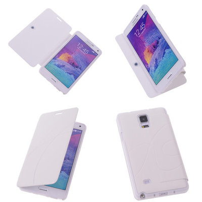 Bestcases Wit Hoesje voor Samsung Galaxy Note 4 TPU Book Case Flip Cover Motief