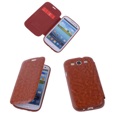Bestcases Bruin TPU Book Case Flip Cover Motief Samsung Galaxy S3 / S3 Neo