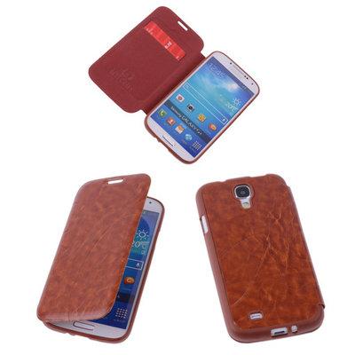 Bestcases Bruin TPU Book Case Flip Cover Motief Hoesje voor Samsung Galaxy S4