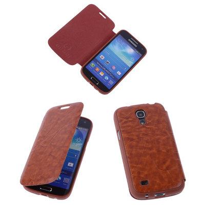 Bestcases Bruin TPU Booktype Motief Hoesje voor Samsung Galaxy S4 mini