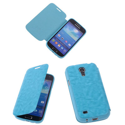 Turquoise TPU Book Case Flip Cover Motief Hoesje voor Samsung Galaxy S4 Mini