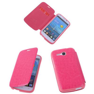 Bestcases Pink Hoesje voor Huawei Ascend Y600 TPU Book Case Cover Motief
