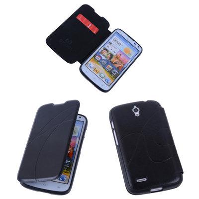 Bestcases Zwart Hoesje voor Huawei Ascend G610 TPU Book Case Cover Motief
