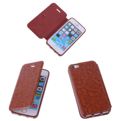 Bestcases Bruin TPU Booktype Motief Hoesje Apple iPhone 5 5s