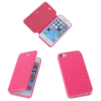 Bestcases Pink TPU Booktype Motief Hoesje Apple iPhone 5 5s