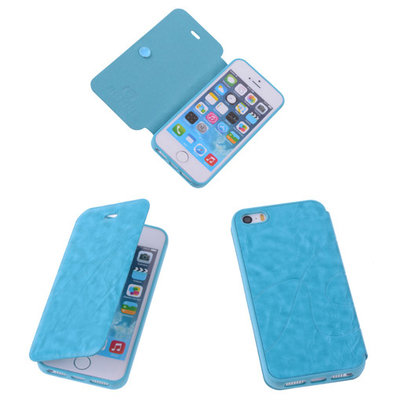 Bestcases Turquoise TPU Booktype Motief Hoesje Apple iPhone 5 5s