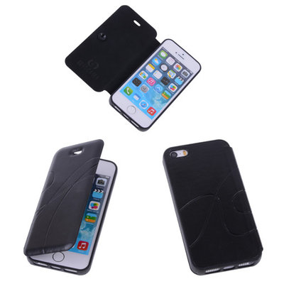 Bestcases Zwart TPU Booktype Motief Hoesje Apple iPhone 5 5s