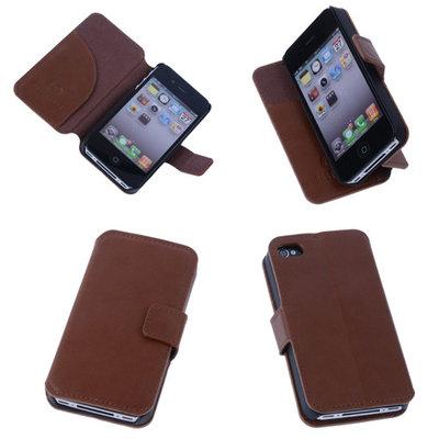 BestCases Naturel Bruin Apple iPhone 4 4S Echt Leder Wallet Case