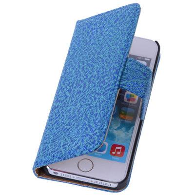 BestCases Antiek Blue Echt Leer Wallet Case Hoesje voor Apple iPhone 4 4S