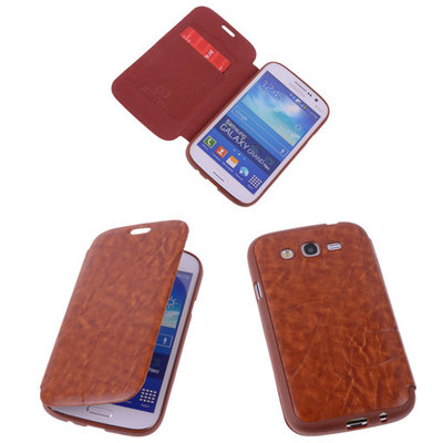 Bruin Samsung Galaxy Grand Neo TPU Book Case Flip Cover Motief