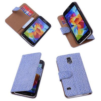 Antiek Blue White Samsung Galaxy S5 (Plus) Echt Leer Wallet Case