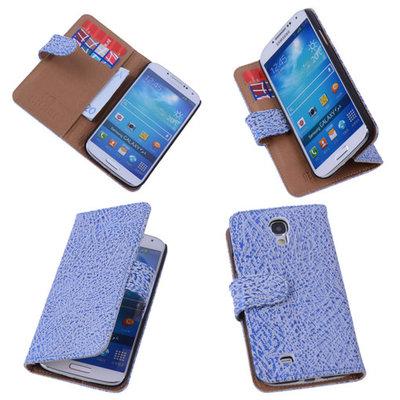 BestCases Antiek Blue White Hoesje voor Samsung Galaxy S4 Echt Leer Wallet Case...