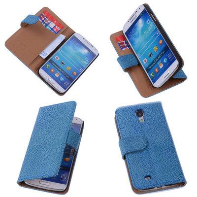 Antiek Blue Hoesje voor Samsung Galaxy S4 i9500 Echt Leer Wallet Case
