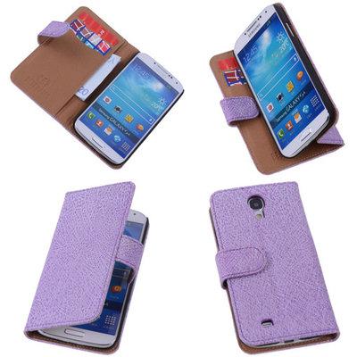 Antiek Purple Hoesje voor Samsung Galaxy S4 i9500 Echt Leer Wallet Case