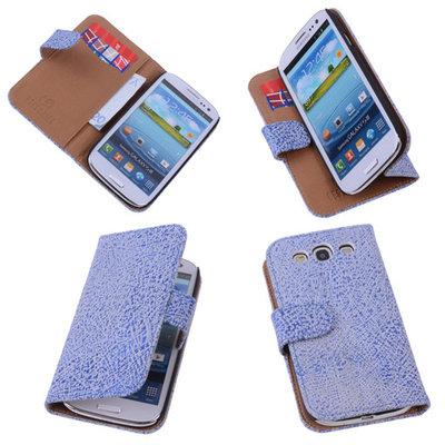 Antiek Blue White Hoesje voor Samsung Galaxy S3 Neo Echt Leer Wallet Case