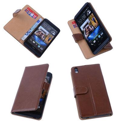 PU Leder Bruin Hoesje voor HTC Desire 816 Book/Wallet Case/Cover s