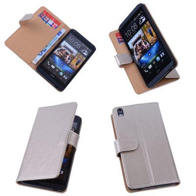 PU Leder Goud Hoesje voor HTC Desire 816 Book/Wallet Case/Cover s
