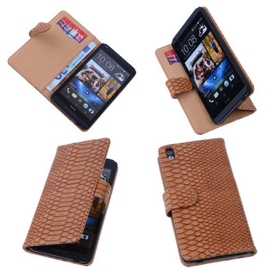 Bestcases Slang Bruin Hoesje voor HTC Desire 816 Bookcase Cover