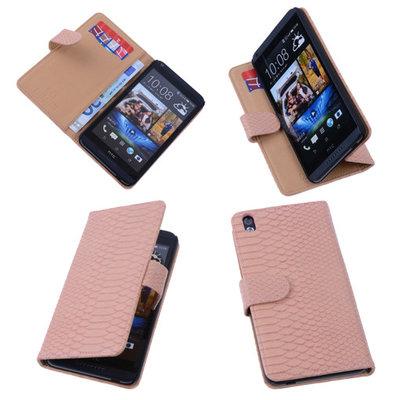 Bestcases Slang Pink Hoesje voor HTC Desire 816 Bookcase Cover
