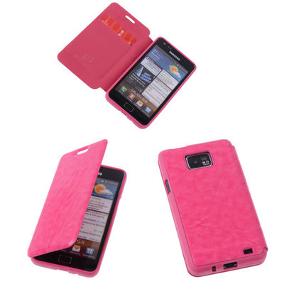 Bestcases Pink TPU Book Case Flip Cover Motief Hoesje voor Samsung Galaxy S2 Plus