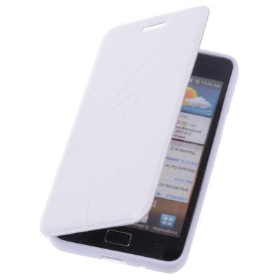 Bestcases Wit TPU Book Case Flip Cover Motief Hoesje voor Samsung Galaxy S2 Plus