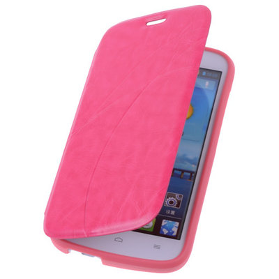 Bestcases Pink Hoesje voor Huawei Ascend G740 TPU Book Case Cover Motief