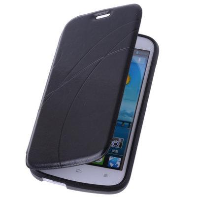 Bestcases Zwart Hoesje voor Huawei Ascend G740 TPU Book Case Cover Motief