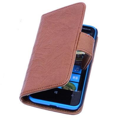 BestCases Bruin Luxe Echt Lederen Booktype Hoesje voor Nokia Lumia 520