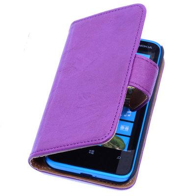 BestCases Lila Luxe Echt Lederen Booktype Hoesje voor Nokia Lumia 520