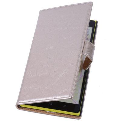 PU Leder Goud Hoesje voor Nokia Lumia 1320 Book/Wallet Case/Cover