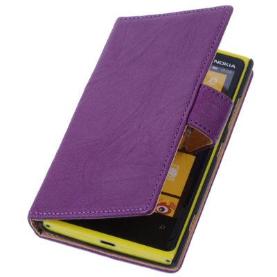 Lila Hoesje voor Nokia Lumia 1320 Stand Luxe Echt Lederen Book Wallet