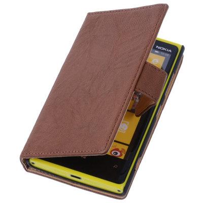 Bruin Hoesje voor Nokia Lumia 1320 Stand Luxe Echt Lederen Book Wallet