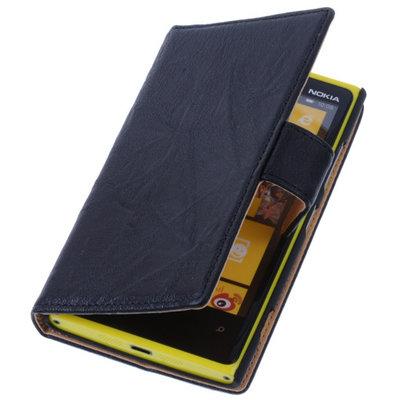 Zwart Hoesje voor Nokia Lumia 1320 Stand Luxe Echt Lederen Book Wallet