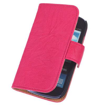 BestCases Pink Echt Leer Booktype Hoesje voor Samsung Galaxy S Advance i9070