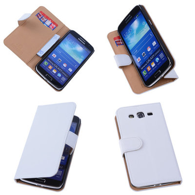 PU Leder Wit Hoesje voor Samsung Galaxy Grand 2 Book/Wallet Case/Cover