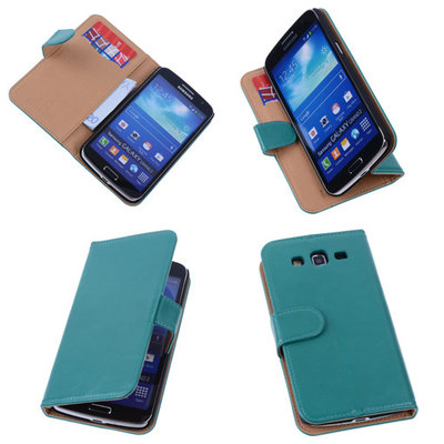 PU Leder Groen Hoesje voor Samsung Galaxy Grand 2 Book/Wallet Case/Cover