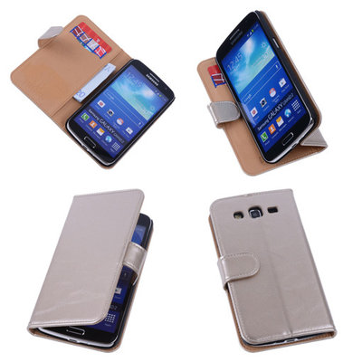 PU Leder Goud Hoesje voor Samsung Galaxy Grand 2 Book/Wallet Case/Cover
