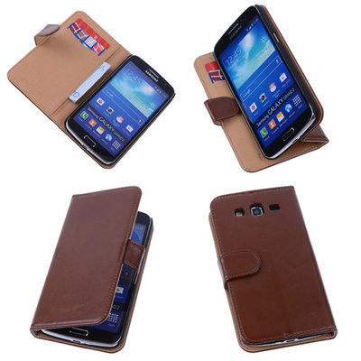 PU Leder Bruin Hoesje voor Samsung Galaxy Grand 2 Book/Wallet Case/Cover