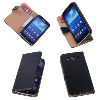 PU Leder Zwart Hoesje voor Samsung Galaxy Grand 2 Book/Wallet Case/Cover